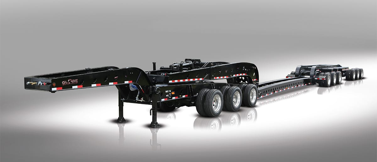 Black heavy haul RGN 3+3+3 with jeep and stinger axle
