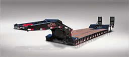 Black two axle lowboy trailer with rear ramps