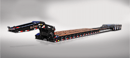 Black lowboy extendable trailer with deck extended out