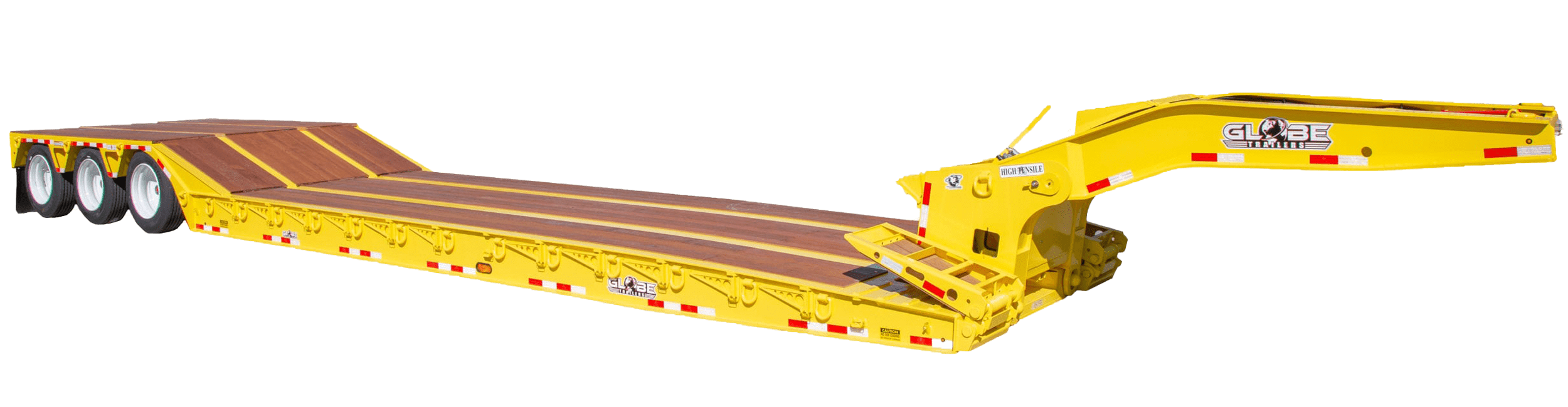Yellow paver style lowboy with front ramps
